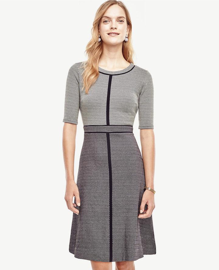 Ann TaylorDot Textured Flare Dress