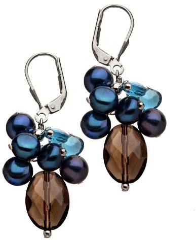 M Pearl Blue Button Briolet Cluster Earrings