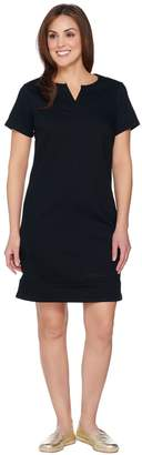 C. Wonder Split Neck Short Sleeve Colored Denim Dress