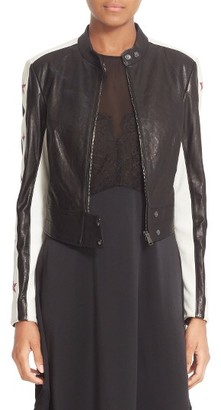 Women's Belstaff Staithes Star Embellished Leather Jacket $2,095 thestylecure.com