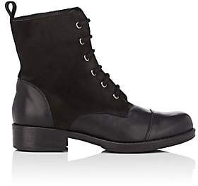 Barneys New York WOMEN'S LEATHER & SUEDE COMBAT BOOTS-BLACK SIZE 9