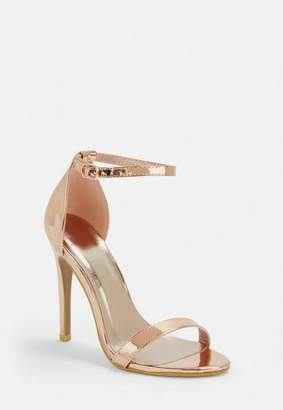 1275aaa87a3 Missguided Rose Gold Barely There Patent Heeled Sandals