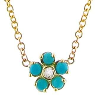 Jennifer Meyer Turquoise and Diamond Flower Necklace