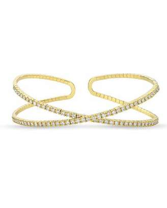 Memoire 18k Gold Flexible Crisscross Diamond Bangle