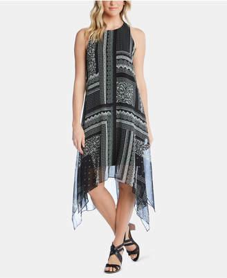 Karen Kane Printed Handkerchief-Hem Sleeveless Dress