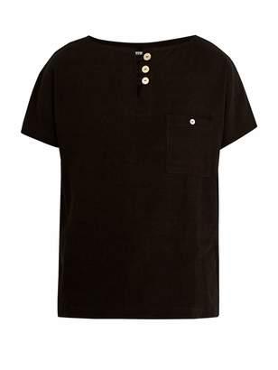 HECHO Half-button silk-blend tunic shirt