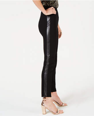 INC International Concepts I.N.C. Petite Faux-Leather-Stripe Skinny Pants, Created for Macy's
