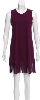 Karla Colletto Fringe-Accented Mini Dress