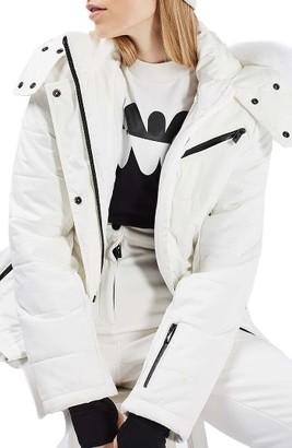 Women's Topshop Bowie Faux Fur Trim Ski Jacket $180 thestylecure.com