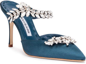 Manolo Blahnik Lurum 90 teal satin pumps