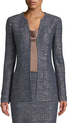 St. John Copper Sequin Tweed Knit Jacket