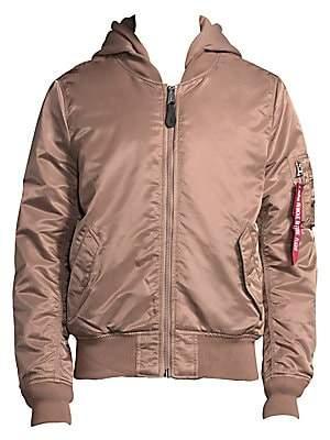 Alpha Industries Men's Full Zip Hooded Bomber Jacket