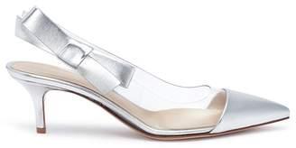 Gianvito Rossi 'Mia' bow clear PVC mirror leather slingback pumps