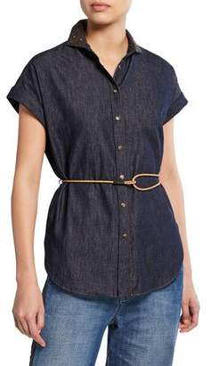 Brunello Cucinelli Cap-Sleeve Embroidered-Collar Denim Shirt