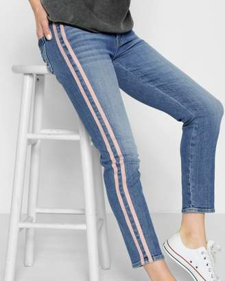 7 For All Mankind Roxanne Ankle with Pink Faux Suede Stripes in Vintage Blue Dunes