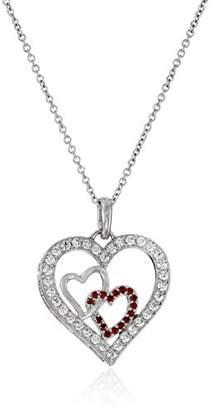 Swarovski Sterling Silver and Zirconia Three-Heart Pendant Necklace