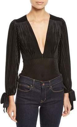 MISA Los Angeles Livia Striped Velvet Long-Sleeve Bodysuit
