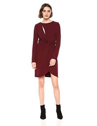 Dress the Population Women's COBY Long Sleeve Stretch Crepe Twist Short Dress