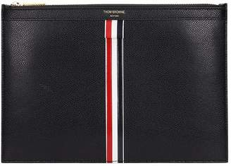 Thom Browne Black Leather Clutch Bag For Tablet In Black Leather