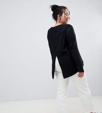 Asos DESIGN Curve long sleeve t-shirt with dip hem and split back in black