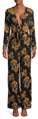 Missguided Floral Plunge Neck Tie Jumpsuit