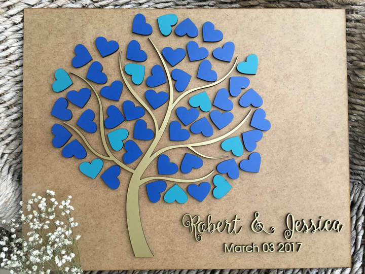 Etsy Personalized guestbook Tree of hearts Wedding Alternative Tree Guest Book Custom Wooden wedding sign