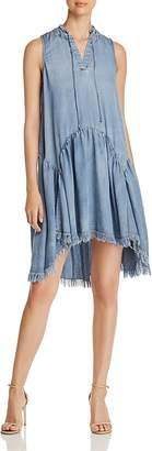 Catherine Malandrino Keala Frayed Chambray Dress