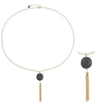 Liz Claiborne Womens Gray Round Pendant Necklace