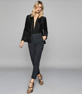 Reiss LAURA HOUNDSTOOTH CHECKED TROUSERS Teal