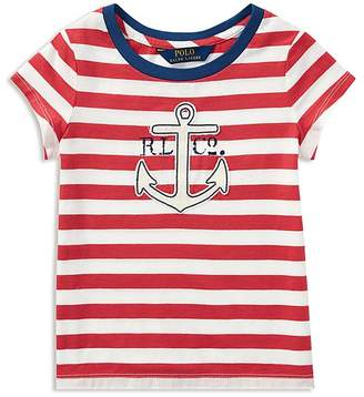 Polo Ralph Lauren Girls' Striped Anchor Tee - Little Kid