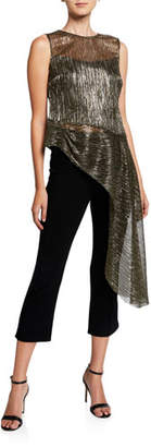 Trina Turk Harmony 2 Sleeveless Sheer Metallic Asymmetric Top