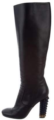 Fendi Spike-Embellished Leather Boots