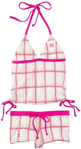 Hurley Little Girls' One and Only Plaid Tankini and Boyshort