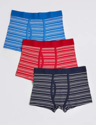 Marks and Spencer 5 Pack Cotton with Stretch Striped Trunks (18 Months - 16 Years)