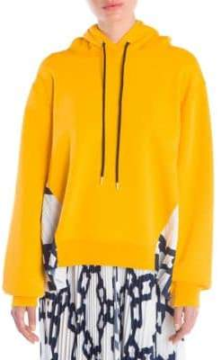 MSGM Oversized Pleat-Inset Hoodie