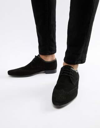 Asos Design DESIGN brogue shoes in black suede