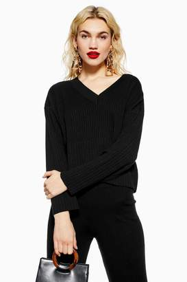 Topshop Ribbed V-Neck Jumper