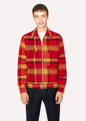 Paul Smith Men's Red Wool-Blend Blanket Check Patch-Pocket Jacket