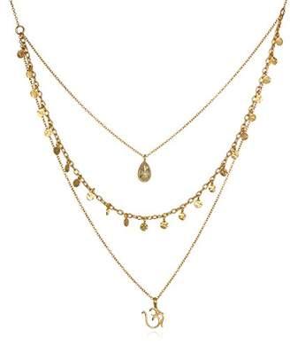 Satya Jewelry Citrine Plate Om Triple Chain Necklace