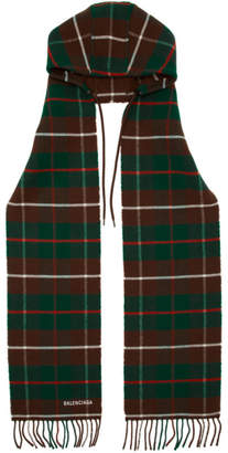 Balenciaga Burgundy Check Hooded Scarf