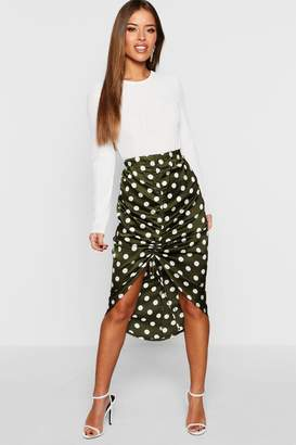 boohoo Petite Satin Ruched Polka Dot Skirt