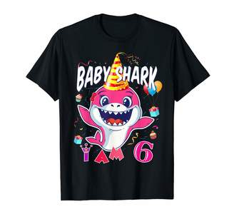 Baby Shark 6th Birthday Girl Shirts & Gifts 6th Birthday Girl Baby Shark I Am 6 Years Old T-Shirt