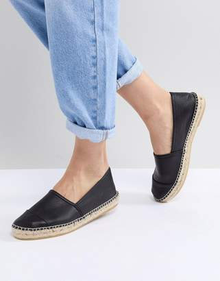 Office Lucky Black Leather Espadrilles