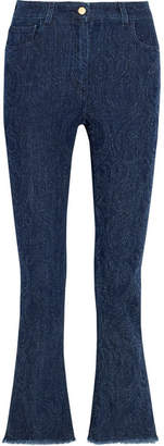 Etro Cropped Paisley-detailed High-rise Bootcut Jeans - Blue