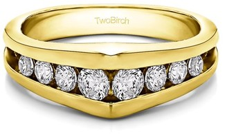 Twobirch Brilliant Moissanite Mounted in Sterling Silver Brilliant Moissanite Moissanite Cool Mens Wedding Band (0.87crt)