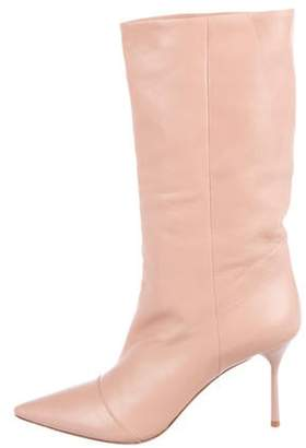 Miu Miu Leather Mid-Heel Boots Beige Leather Mid-Heel Boots