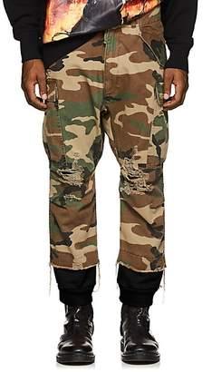 R 13 Men's Harem Camouflage Cotton Cargo Pants - Olive