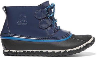 Sorel - Out N About Rain Waterproof Patent-leather And Rubber Boots - Navy