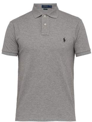 Polo Ralph Lauren Logo Embroidered Cotton Pique Polo T Shirt - Mens - Grey