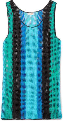 Diane von Furstenberg Striped Crocheted Cotton Mini Dress - Azure